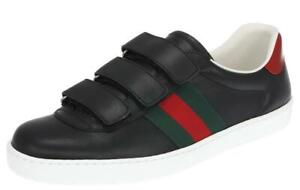 50b3414be08 NEW GUCCI ACE MEN S BLACK LEATHER WEB DEATIL LOGO SNEAKERS SHOES 7 G ...