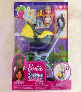 BARBIE SKIPPER BABYSITTERS INC DOLL /& KRISSY DOLL YELLOW STROLLER SET NRFB