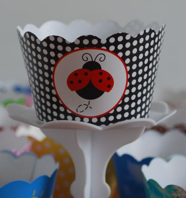 """12 kids Party """"LADY BUG"""" Cupcake Wrappers -AUSTRALIAWIDE FREE SHIPPING"""