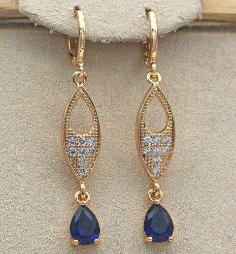 """18K Gold filled 1.8/"""" Boucles d/'oreilles chat yeux Creux Goutte sapphire topaz Dangle L8"""