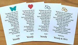 Détails Sur Mariage Lune De Miel Demande De Largent Pour Cartes Poème Invitations Taille A7 74x105mm Afficher Le Titre Dorigine
