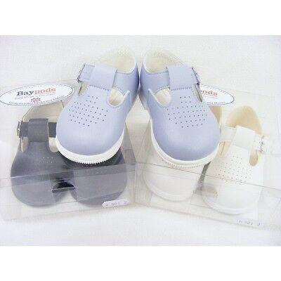 Bay Pod Spanish Style Traditional Baby Boys Girls Blue Buckle Pram Shoe 0-18 Mth