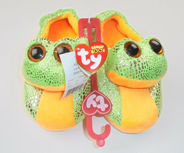 23993d58d22 Beanie Boos Ty Speckles Frog Slip-on Slippers Big Girls Shoe Size ...