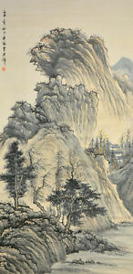 Vintage-Chinese-Watercolor-WINTER-MOUNTAINS-Wall-Hanging-Scroll-Painting