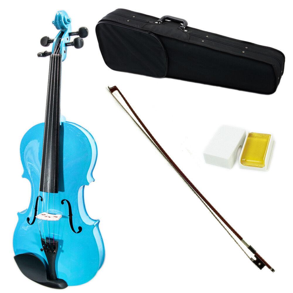 SKY 4 4 Full Größe Solid Wood Blau Violin Beautiful Purfling with Brazilwood Bow