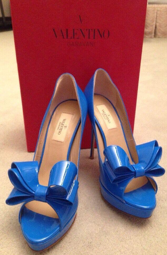 NEW VALENTINO VALENTINO VALENTINO 38.5 8.5 Patent Leather Platform Open Toe Pump Heel Bow blueE  795 cb799d