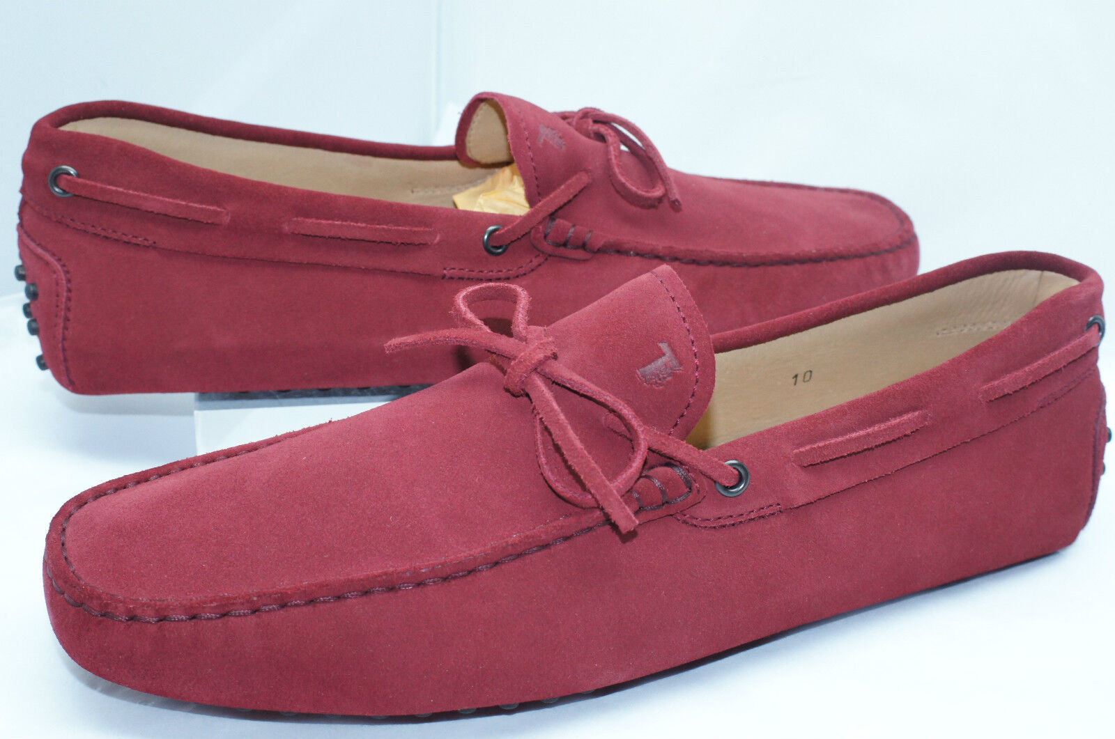 New Tod's Men's rosso scarpe Driver Dimensione 10.5 Loafers Suede Moccasin Loafers Sale