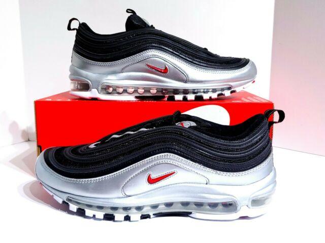 Details about Men's Size 8 Nike Air Max 97 QS Black Varsity Red Metallic Silver AT5458 001