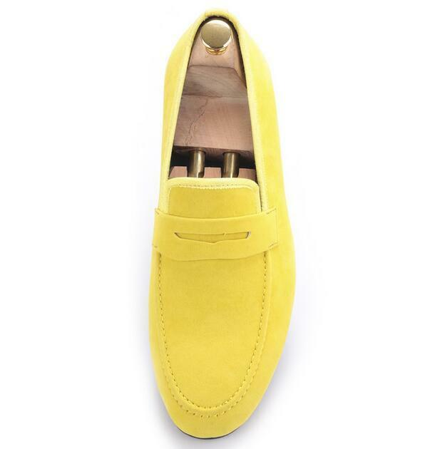 New soft Uomo loafer moccasins soft New lazy slipper driving suede leisure Scarpe yellow SZ 970ae7