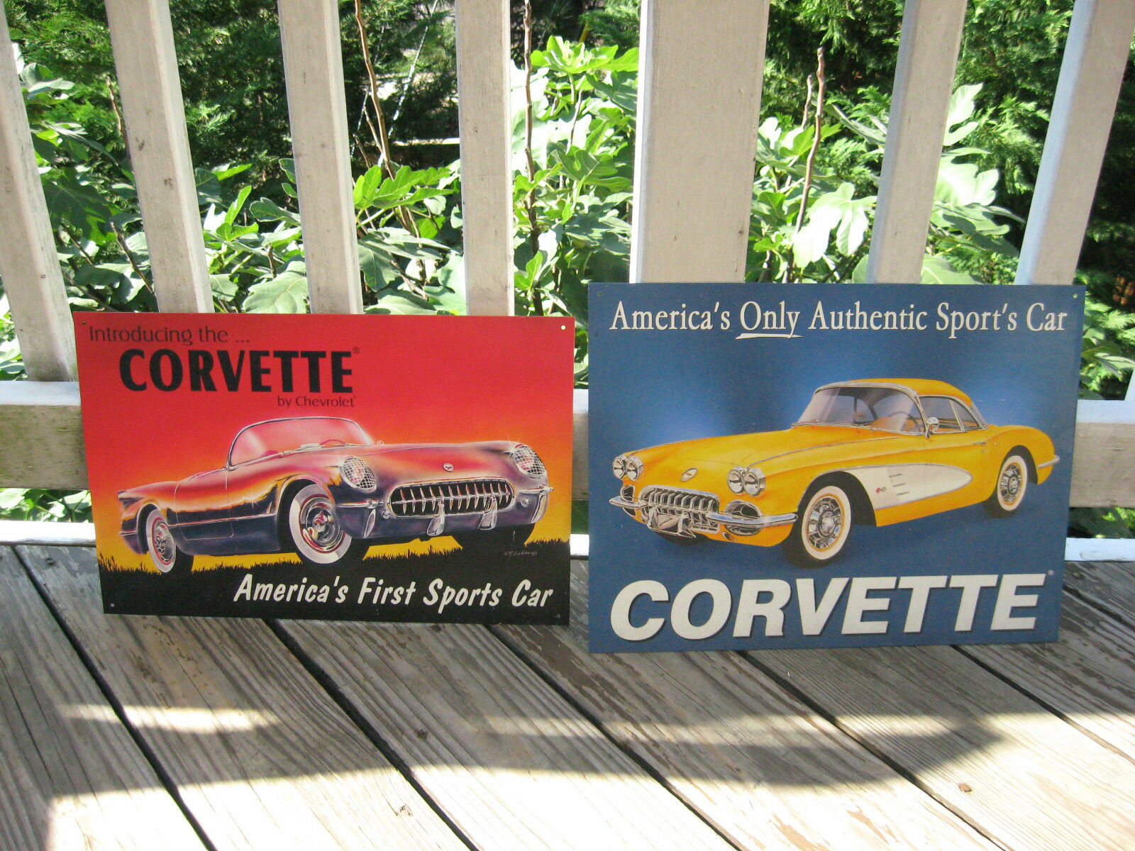 Lot Of 2 Chevy Corvette 1953 & 1958 Americas First Sports Car Metal Signs