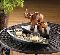 lucky raised trunk elephant Candle holder cone incense zen Rock garden Statue