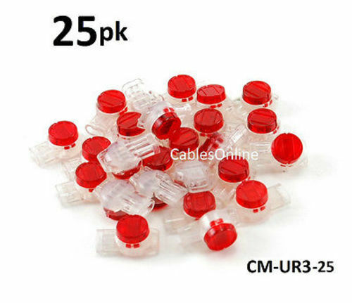 CM-UR3-25 Splices 19-25 AWG Wire 25-PACK Red 3-Wire IDC Connector