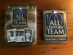 ALL CENTURY TEAM MAJOR LEAGUE BASEBALL PLAYING CARDS & COMMEMORATIVE  TIN