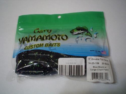"""GARY YAMAMOTO 5/"""" DOUBLE TAIL GRUB BLUE BLACK//LRG CHART. FLAKE 20 CT"""