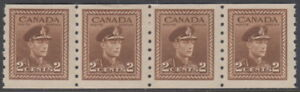 Canada #264 2¢ King George VI War Issue Coil Strip of Four Mint Never Hinged - D