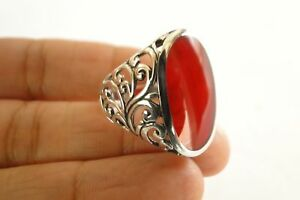 Red-Fossil-Coral-Ornate-Edge-925-Sterling-Silver-Ring-6-7-8-9