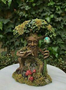 Miniature Dollhouse FAIRY GARDEN ~ Mini Flower Top Tree House with Moss /& Light
