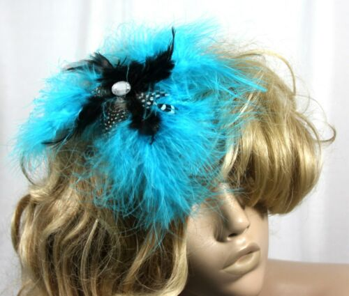 Large  Blue all feather Fasinator mounted on a comb more colours in our store
