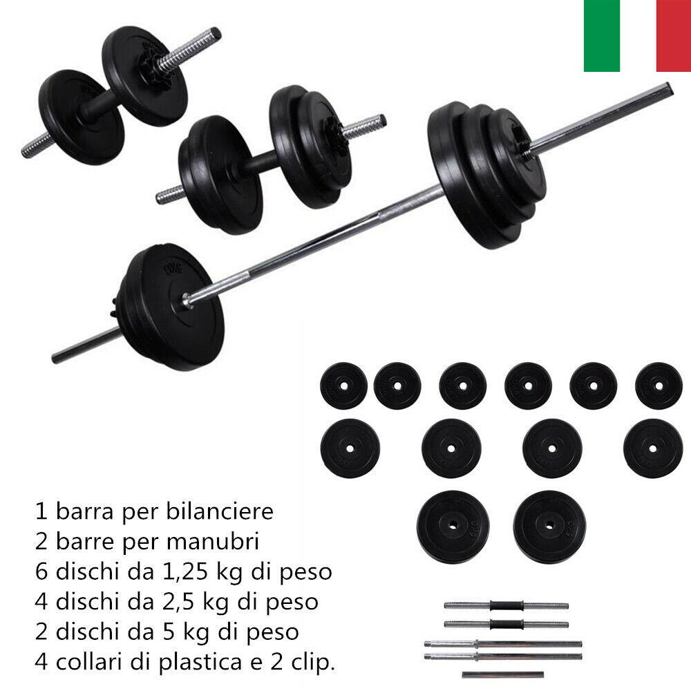 30.5Kg Set Bilanciere  2 manubri Casa Palestra Pesi Fitness Barra Bilanciere