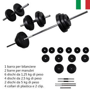 30-5Kg-Set-Bilanciere-2-manubri-Casa-Palestra-Pesi-Fitness-Barra-Bilanciere