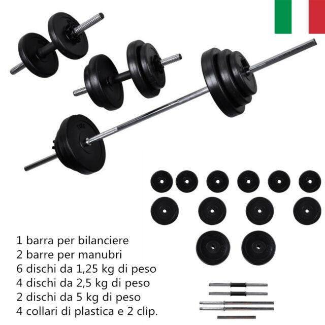30.5Kg Set Bilanciere + 2 manubri Casa Palestra Pesi Fitness Barra Bilanciere