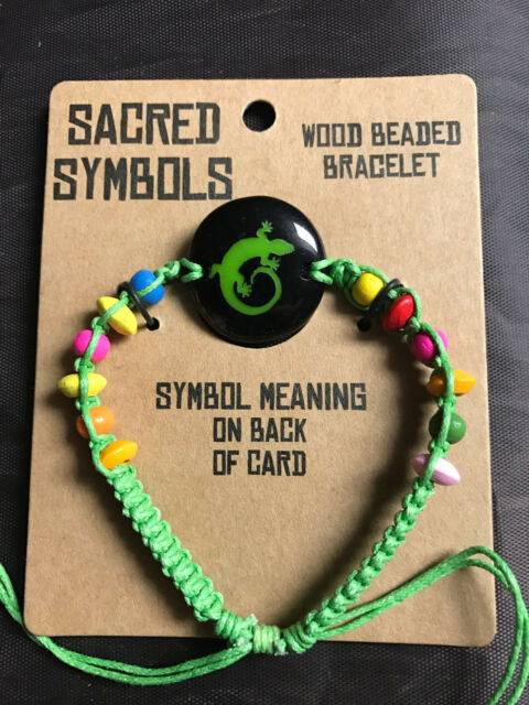 Wood Beaded Lizard Symbol Adjustable Bracelet With Sacred Symbol