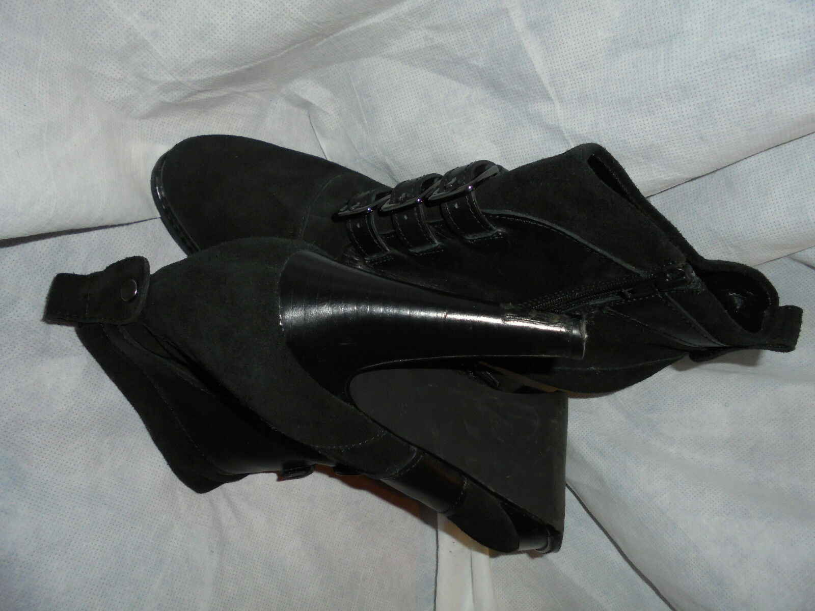 M &  S AUTOGRAPH Damenschuhe BLACK  & SUEDE/LEATHER LACE UP HEEL BOOT SIZE UK 7 EU 40 VGC 9f51f4