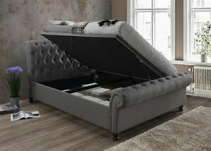 Image Is Loading Castello Ottoman Storage Fabric 180cm 6ft Grey Super