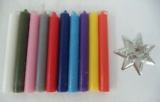 MINI CANDLE MAGIC SET 10 ASSORTED CANDLES + SILVER HOLDER (Spell Wicca Chime)