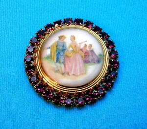 Vintage-Style-Czech-ALL-Glass-Rhinestone-Pin-Brooch-T042-SIGNED