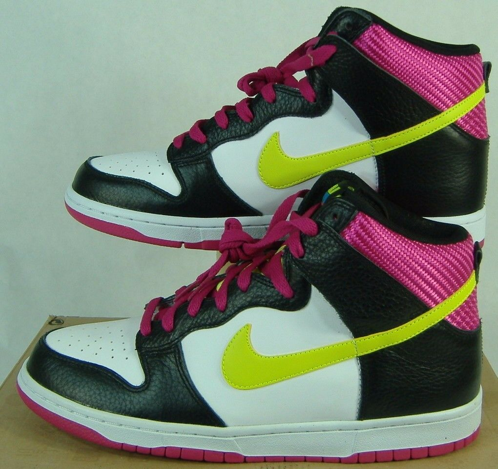 New Mens 10.5 NIKE Dunk High Hi Top White Fireberry Leather shoes  85 317982-127