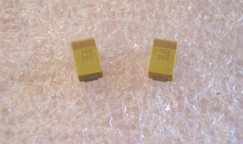 15uf 25V 10/% D CASE SMD TANTALUM CAPACITORS T491D156K025AS KEMET QTY 100