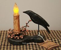 Primitive Crow Holder & 4.5 Burnt Ivory Timer Battery Candle & Pip Ring