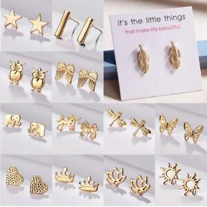 Fashion-Lovely-Plain-Women-039-s-Girl-Gold-Earrings-Cute-Ear-Stud-Jewelry-Holiday