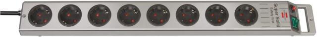 Brennenstuhl Steckdosenleiste 8-fach - Super-Solid Line, silber, 2,5 m Kabel