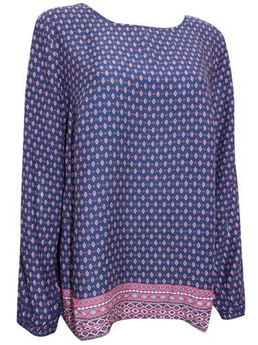 NEW Gina Benotti Navy Pink Border Print Ladies Long Sleeve Top Sizes 16 18 20