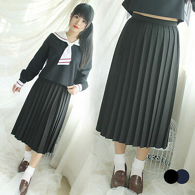 Majisuka Gakuen Women Furyo JK Sailor Long School Uniform Pleated Skirt Cosplay