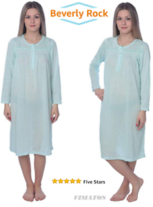 Details about Plus Size,Womens Long Sleeve Cotton Night Gown/Sleep  Dress/Nightshirt,5X,Green