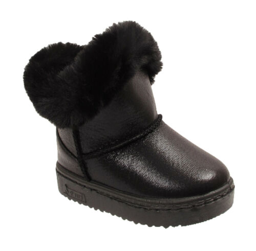 Kids Children/'s Girls Infant Fur Lined Warm Winter Shiny Glossy Snow Ankle Boots