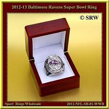 2012 Baltimore Ravens Super Bowl Championship Ring Wood Box & Pouch S-11