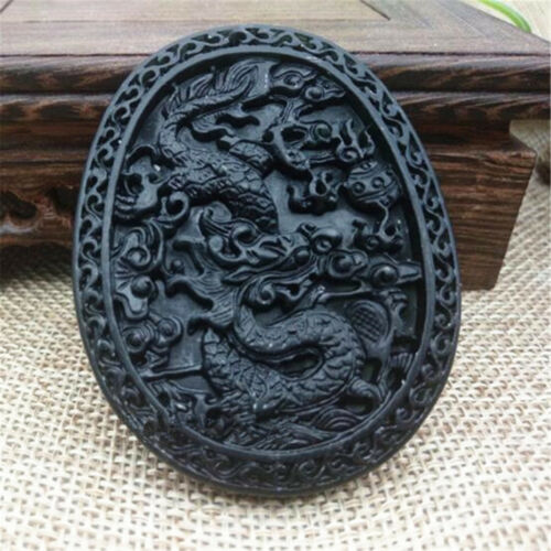 Chinese Natural Black Green Jade Hand Carved  Jade Pendant Dragon Lucky Amulet