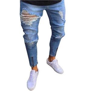 32abe45c0 A imagem está carregando Moda-masculina-rasgado-Denim-Jeans-Skinny -destruido-Reta-