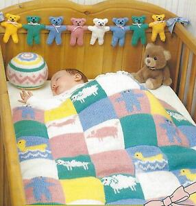 Knitting Pattern For Teddy Bear Baby Blanket : Baby Blanket Knitting Pattern DK Toy Ball & Teddy Bear 336 ...