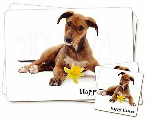 'happy Easter' Lurcher Twin 2x Placemats+2x Coasters Set In Gift Bo, Ad-lu2da1pc Artisanat D'Art