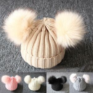 Baby Girl Boy Knitted Bobble Hat Double Pom Pom Winter Warm Crochet Stretchy Hat
