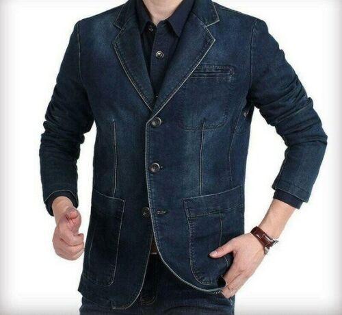Vintage Men/'s Denim Blazer Slim Fit Jacket Cotton Outwear Casual Jeans Coat Tops