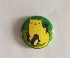 CAT PENGUIN BUTTON PIN HELPS FEED TNR BUY HOUSES FOR FERAL CATS ResQ GIVE $3.5
