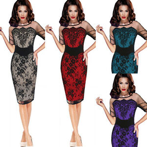 damen sexy mesh spitzenkleid cocktailkleid abendkleid party stretch kleid 3448  ebay