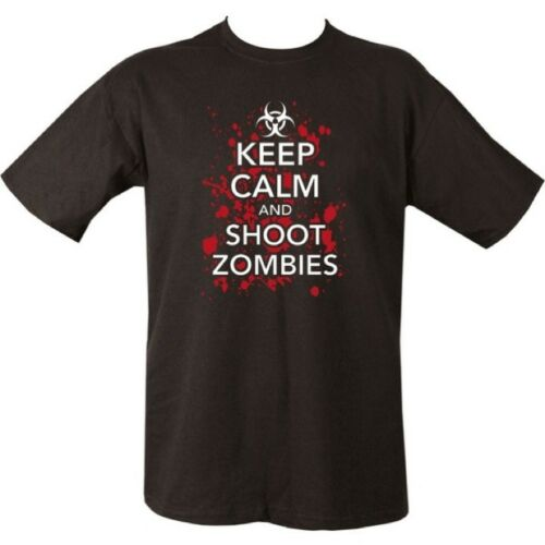 KEEP CALM /& SHOOT ZOMBIES T-SHIRT MENS S-2XL 100/% COTTON TOP GAMING AIRSOFT