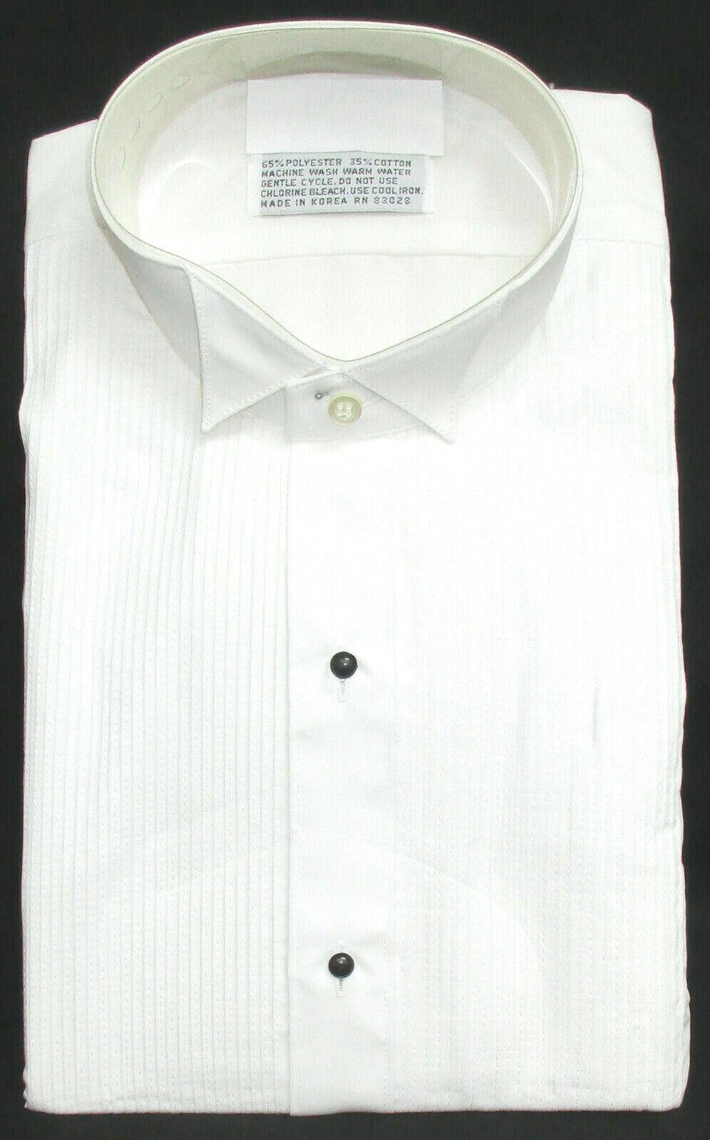 New White Wing Collar Tuxedo Shirt Pleated Front Wedding Prom Mason XS 32//33
